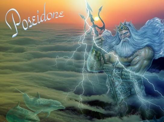 Poseidone che disseta dalla montagna boscosa nella - Armatura dell immagine del dio ...